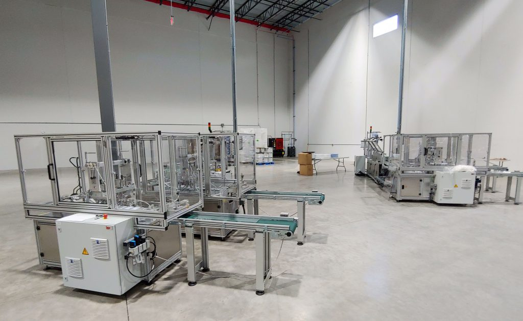 Moss high-speed automated lines for PPE face mask production